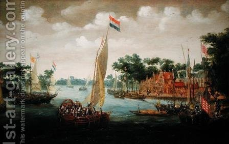 A Dutch States Yacht on a River Estuary by Abraham de Verver - Reproduction Oil Painting
