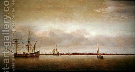 View of Hoorn with shipping by Abraham de Verwer - Reproduction Oil Painting