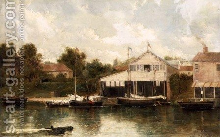 Rivercraft before a Boathouse, Richmond on Thames by A.H. Vickers - Reproduction Oil Painting