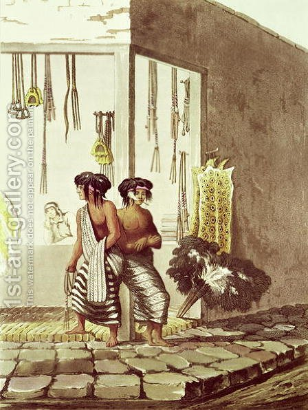 Pampa Indians at a Store in the Indian Market of Buenos Aires, from 'Picturesque Illustrations of Buenos Aires and Montevideo, engraved by J. Bluck fl.1791-1819 1820 by (after) Vidal, Emeric Essex - Reproduction Oil Painting