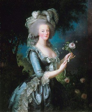 Famous paintings of Trees: Marie Antoinette 1755-93 with a Rose, 1783