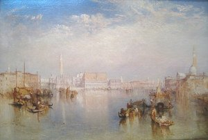 Famous paintings of Ships & Boats: View of Venice: The Ducal Palace, Dogana and Part of San Giorgio, 1841