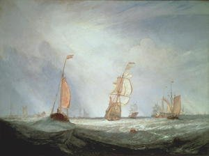 Famous paintings of Ships & Boats: Helvoetsluys ships going out to sea, 1832