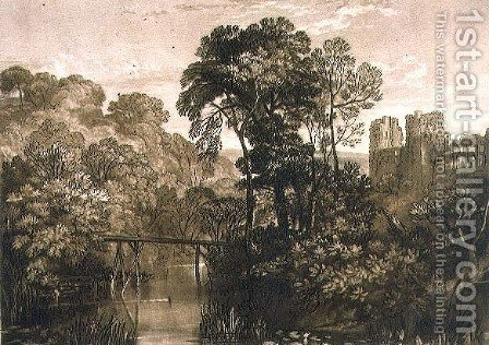 Turner: Berry Pomeroy Castle, from the Liber Studiorum, engraved by the artist, 1816 - reproduction oil painting