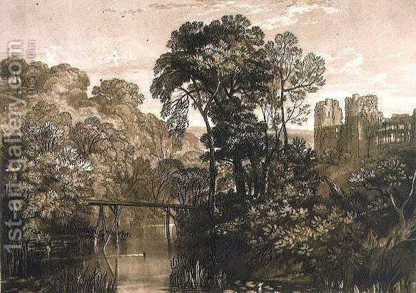 Huge version of Berry Pomeroy Castle, from the Liber Studiorum, engraved by the artist, 1816