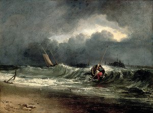 Famous paintings of Ships & Boats: Fishermen upon a lee-shore in squally weather