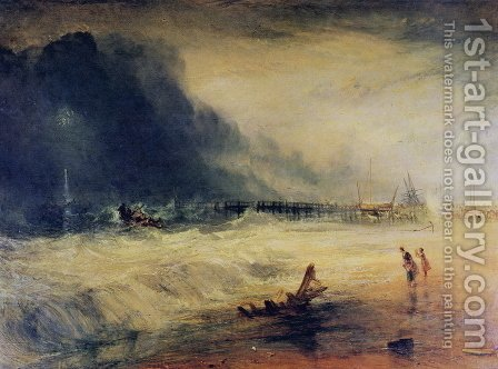 Turner: Lifeboat and Manby Apparatus going off to a stranded vessel making signal blue lights of distress , c.1831 - reproduction oil painting