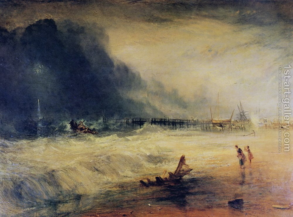 Huge version of Lifeboat and Manby Apparatus going off to a stranded vessel making signal blue lights of distress , c.1831