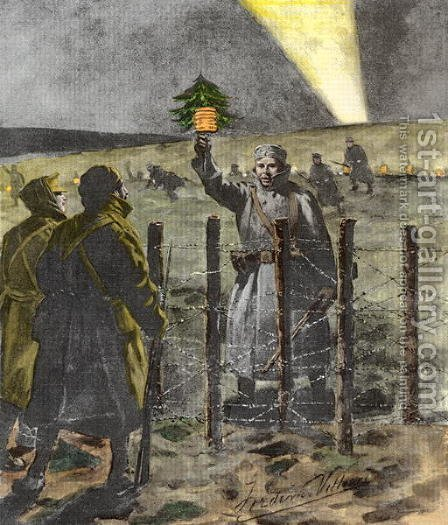 The Christmas Day Truce of 1914, published 1915 2 by (after) Villiers, Frederic - Reproduction Oil Painting
