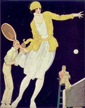 Famous paintings of Other: Tennis with Mademoiselle Suzanne Lenglen 1899-1938, illustration from La Vie au Grand Air, 1921
