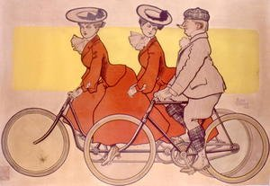 Famous paintings of Bicycling: Man on a bicycle and women on a tandem, 1905