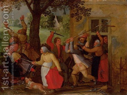 David Vinckboons: Country Pub Brawl - reproduction oil painting