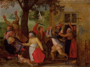 Reproduction oil paintings - David Vinckboons - Country Pub Brawl