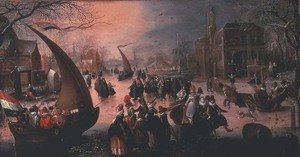 Reproduction oil paintings - David Vinckboons - A village in winter with gentry ice-sailing