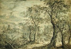 Reproduction oil paintings - David Vinckboons - Wooded Landscape with the Temptation of Christ
