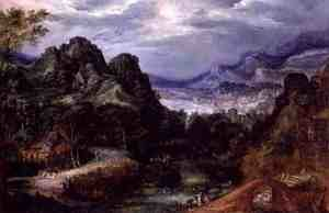 Reproduction oil paintings - David Vinckboons - Mountainous landscape with dancing peasants
