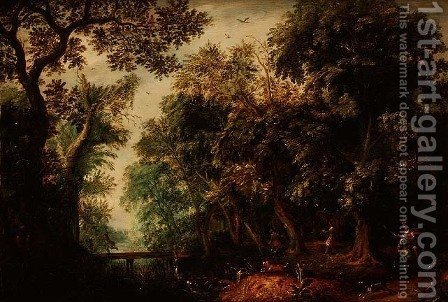 David Vinckboons: A Stag Hunt in a forest - reproduction oil painting