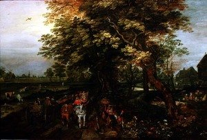 Reproduction oil paintings - David Vinckboons - Wooded Landscape with Peasants