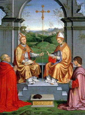Timoteo Viti reproductions - St. Thomas a Becket and St. Martin of Tours with Archbishop Giovanni Pietro Arrivabene and Guidobaldo da Montefeltro, Duke of Urbino