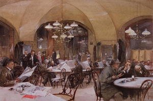 Famous paintings of Cafes & Bistros: Cafe Griensteidl, Vienna, 1890