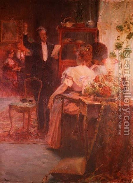 Intimate Recital before the Evening by Henry Emile Vollet - Reproduction Oil Painting