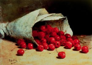 Realism painting reproductions: A spilled bag of cherries