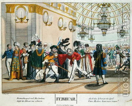 Shrovetide Masked Ball, calendar illustration for February, published in Nuremberg, c.1830 by (after) Voltz, Johann Michael - Reproduction Oil Painting