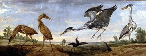 Bitterns, Herons and Water Rails in a Landscape