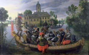 Famous paintings of Ships & Boats: The Boating Party, Satirical Scene with Cats and Monkeys as Humans