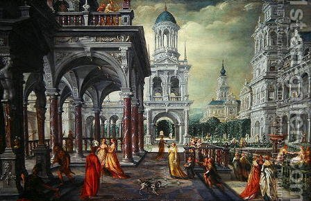 Bathseba and David with an Architectural Background by Hans Vredeman de Vries - Reproduction Oil Painting
