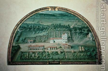 Colle Salvetti, from a series of lunettes depicting views of the Medici villas, 1599 by Giusto Utens - Reproduction Oil Painting