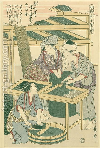Feeding the silk worms, no.3 from Joshoku kaiko tewaza-gusa, c.1800 by Kitagawa Utamaro - Reproduction Oil Painting