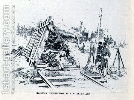Railway destruction as a military art, illustration from Battles and Leaders of the Civil War, edited by Robert Underwood Johnson and Clarence Clough Buel by (after) Taber, J.W. - Reproduction Oil Painting