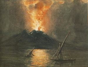 Famous paintings of Volcanoes: A Vezuv kitorese, 1835