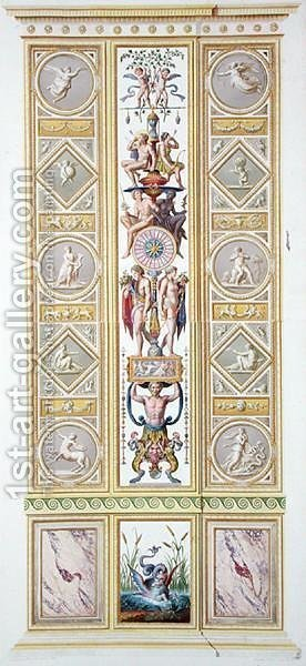 Panel from the Raphael Loggia at the Vatican, from Delle Loggie di Rafaele nel Vaticano, engraved by Giovanni Volpato 1735-1804, 1776, published c.1776-77 by (after) Taurinensis, Ludovicus Tesio - Reproduction Oil Painting