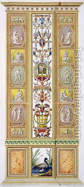 Panel from the Raphael Loggia at the Vatican, from Delle Loggie di Rafaele nel Vaticano, engraved by Giovanni Volpato 1735-1803, 1775, published c.1775-77 by (after) Taurinensis, Ludovicus Tesio - Reproduction Oil Painting