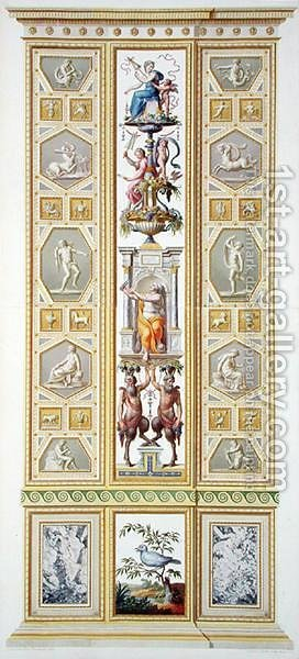 Panel from the Raphael Loggia at the Vatican, from Delle Loggie di Rafaele nel Vaticano, engraved by Giovanni Volpato 1735-1803, 1776, published c.1776-77 by (after) Taurinensis, Ludovicus Tesio - Reproduction Oil Painting