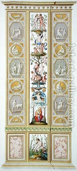 Panel from the Raphael Loggia at the Vatican, from Delle Loggie di Rafaele nel Vaticano, engraved by Giovanni Volpato 1735-1803, 1775, published c.1775-77 2 by (after) Taurinensis, Ludovicus Tesio - Reproduction Oil Painting