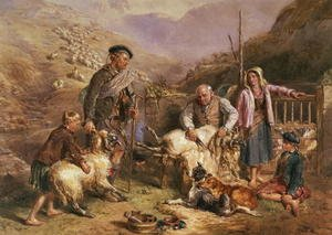 Realism painting reproductions: Sheep Shearing