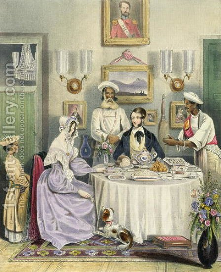The Breakfast, plate 3 from Anglo Indians, engraved by J. Bouvier, 1842 by (after) Tayler, William - Reproduction Oil Painting