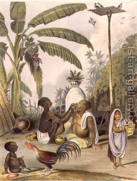 The Village Barber, plate 6 from Indians, engraved by J. Bouvier, 1842 by (after) Tayler, William - Reproduction Oil Painting
