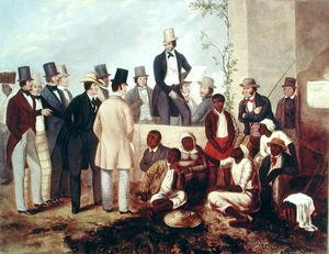 Famous paintings of Black Art: American Slave Market, 1852