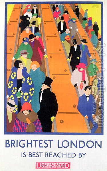 Brightest London is Best Reached by Underground, 1924, printed by the Dangerfield Co by Horace Taylor - Reproduction Oil Painting