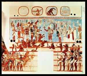 Copy of a wall painting from Bonampak depicting Mayan priests and nobles judging prisoners of war