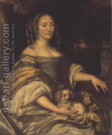Portrait of a young lady in blue dress with lapdog by Abraham van den Tempel - Reproduction Oil Painting