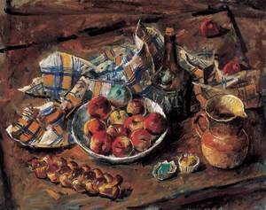 Famous paintings of Desserts: Almas kancsos csendelet