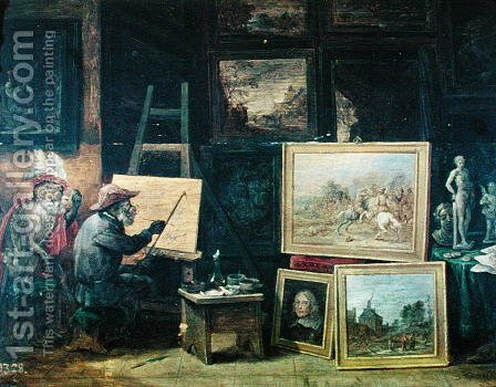 David The Younger Teniers: The Monkey Painter, 1805 - reproduction oil painting
