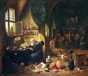 Famous paintings of Furniture: An Alchemist in his Workshop