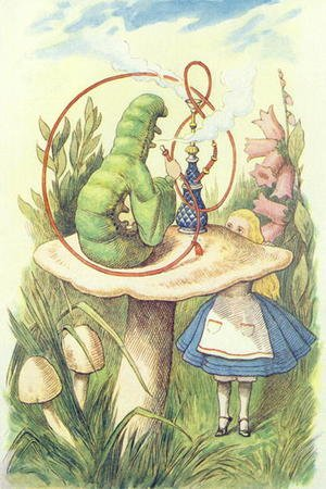Famous paintings of Vegetables: Alice Meets the Caterpillar, illustration from Alice in Wonderland by Lewis Carroll 1832-9