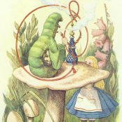 Oil painting reproductions - Wild Animals - John Tenniel: Alice Meets the Caterpillar, illustration from Alice in Wonderland by Lewis Carroll 1832-9